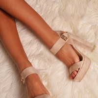 Palma Nude Suede Effect Platforms | Pink Boutique