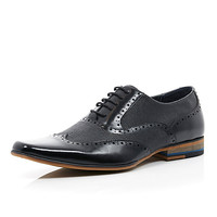 River Island MensBlack leather panelled lace up formal shoes