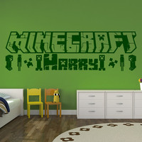 Minecraft & Creepers Personalised - Wall Sticker