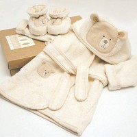 Hug Me Bear Bathrobe & Slippers 0-6 mths