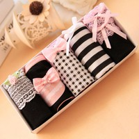5pieces/lot  Women Panties Girls Sweet Cute Bow Cotton Briefs