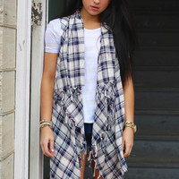 For the Love of Plaid Sleeveless Cardigan {Navy}