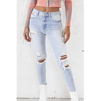 Say Yes High Rise Distressed Denim Skinnies