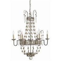 Versailles Small 6L Iron/Smoke Glass Chandelier NEW