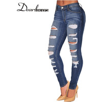 Destroyed Denim Ripped Pencil Jeans