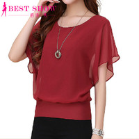 New Womens Tops Fashion 2016 Women Summer Chiffon Blouse Plus Size Ruffle Batwing Short Sleeve Casual Shirt Black White Red Blue
