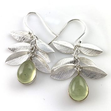 Prehnite Leaf Sterling Silver Earrings