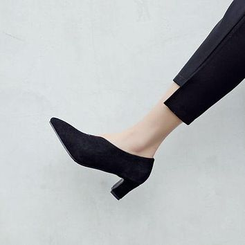 Women Pointed Toe Suede High Heel Chunky Pumps