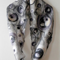 Infinity scarf felted scarf circle scarf grey nuno felted scarf loop scarf wool scarf neck scarf Handmade Ready to Ship