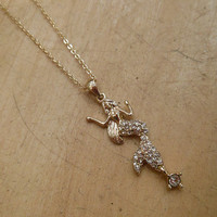 Gold Rhinestone Mermaid Necklace   Candy's Cottage