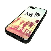 For iPhone 5C 5 C Apple Case Cover Skin California Palm Trees Cali JDM Swag DESIGN BLACK RUBBER SILICONE Teen Gift Vintage Hipster Fashion Design Art Print Cell Phone Accessories