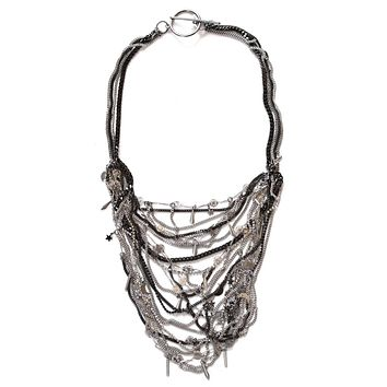 Bib necklace with crystals and brass chains. Black Bib Necklace.