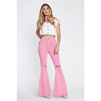 Blush Raw Edges Bell Flare Jeans