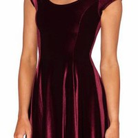 You're Mine Velvet Skater Mini Dress