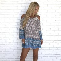 Queen Me Off Shoulder Print Dress