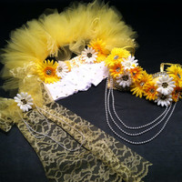 EDC, rhinestone & daisy Rave, Hippie, costume, dance, festival yellow lace decorated bra top, bustle (1/2 tutu) and shorts rave outfit