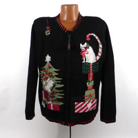Ugly Christmas Sweater Vintage Cardigan Cat Holiday Tacky Party Women's size  L