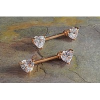 Heart Rose Gold Nipple Barbell Jewelry Barbell