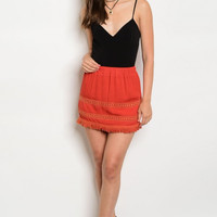 Rust Fringe Skirt