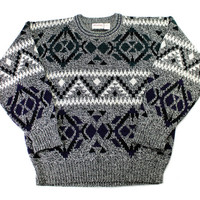 Vintage 1990s 90s Geometric Print Acrylic Sweater in Black/White Mens Size Large