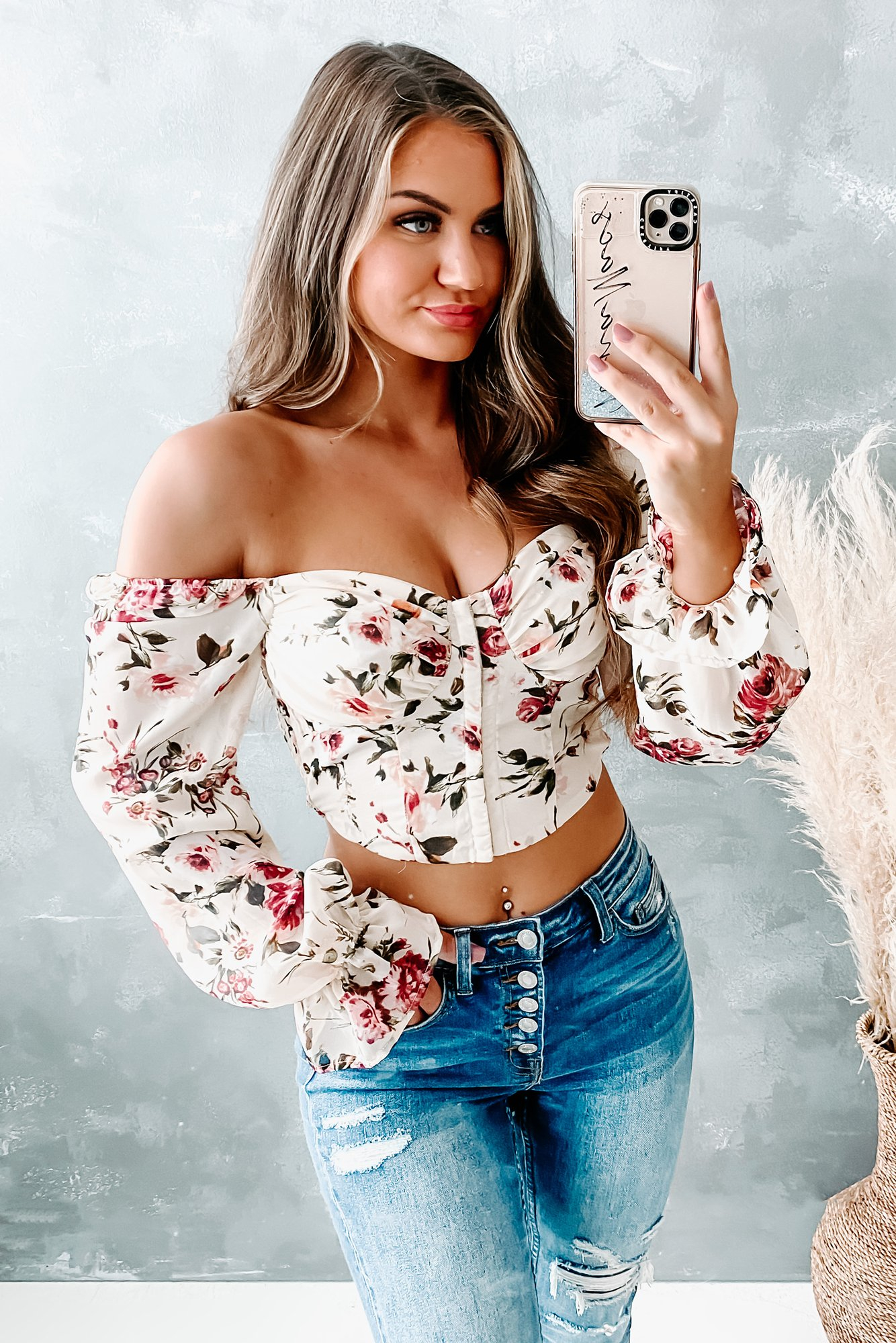 Image of At My Finest Floral Corset Crop Top (Stone Mauve)