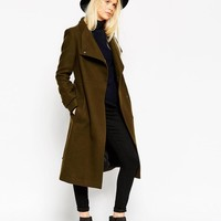 ASOS | ASOS Coat With Funnel Neck And Belt at ASOS