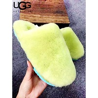UGG New fashion couple fur flats sandals slipper shoes
