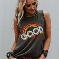Good Vibes Graphic Tank - Charcoal