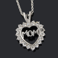 "[Mothers Day]Trendy Love ""Mom"" Fully-Crystal Heart Pendant Necklace"