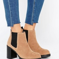 Pull&Bear Elastic Chunky Heeled Ankle Boot at asos.com