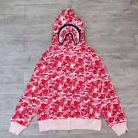 BAPE ABC SHARK Casual Fashion Sport Camouflage Long Sleeve Hooded Sweater Rose
