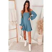 Special Someone Off The Shoulder Mini Dress (Dusty Blue)