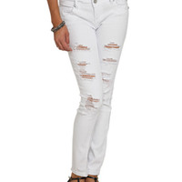 White Destroyed Skinny Jean   Shop Jeans at Wet Seal