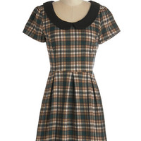 Short Sleeves A-line Record Time Dress in Plaid
