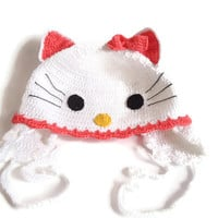 Hello kitty crochet hat, Hello kitty hat, Crochet baby hat, Girl, toddler, Children Hat,