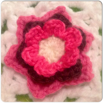Hand Crochet Flower Appliqué Embellishment - Bubblegum and Hot Pink w- a touch of Cream, Brown
