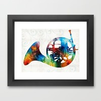 Colorful French Horn - Color Fusion By Sharon Cummings Framed Art Print by Sharon Cummings | Society6