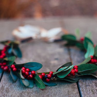 HOLIDAY SALE Christmas Very Berry Hair Wreath, Christmas Party, holiday party, Merry, Headband