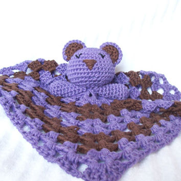 Sleeping Teddy Bear Crochet Baby Blanket, Baby Lovey Blanket, Baby Lovie Blanket, Baby Security Blanket