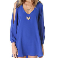 Blue V-Neck Long Sleeve Chiffon Dress