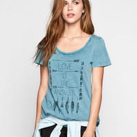 Full Tilt Love Is The Answer Womens Tee Teal Blue  In Sizes