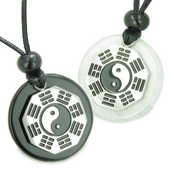 Positive Energy Love Couple BA GUA Ying Yang White Snowflake Quartz Black Agate Magic Pendant Necklaces