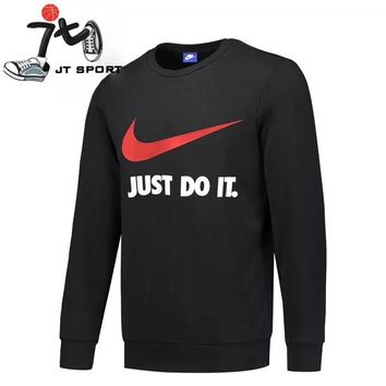 """""""Nike"""" Men Classic Solid Color All-match Slogan Fashion Letter Logo Long Sleeve Sweater Tops"""
