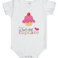 Dad's little cupcake cute baby girl jumpsuit-White Baby Onesuit 00