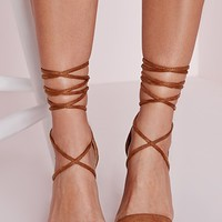 Missguided - Lace Up Barely There Heeled Sandals Tan