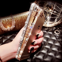 handmade iPhone 7 7Plus & iPhone 6s 6 Plus diamond frame case cover + Gift Box