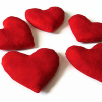 Bright Red Heart Shaped Bean Bags Toy Party Favor Birthday Crimson Party Favor (set of 5) - US Shipping Included