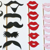 Photobooth Props on a Stick - Set of 20  - Mustashe and Lips bash stache photo prop PARTY bash