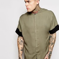 ASOS Shirt In Drape Fabric With Batwing Sleeve And Grandad Collar