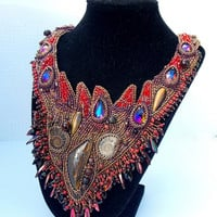 Bead Embroidery, Collar Necklace, Statement necklace, Seed beaded jewelry, Swarovski, Red,  Bronze, Tigers eye gemstone,  Ammonite gemstone